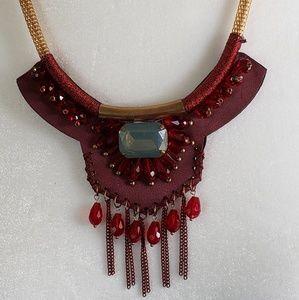 Faux leather bib necklace